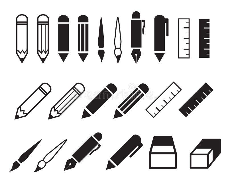 Grupo de ícones do lápis e da pena ilustração royalty free