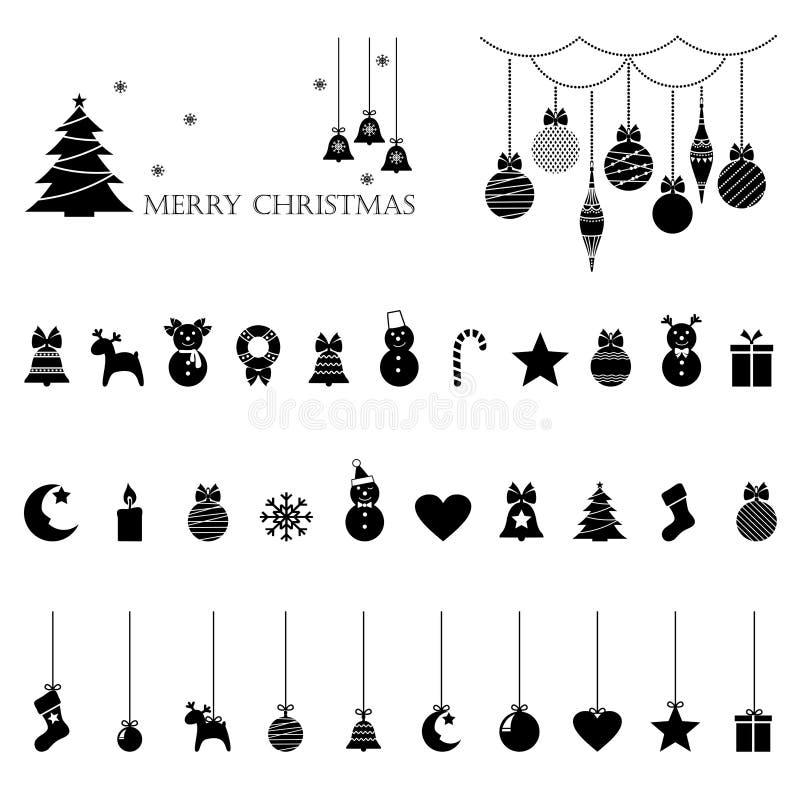Grupo de ícones do Natal, decorações da Natal-árvore, testes padrões para cartões, ilustração lisa do vetor ilustração royalty free
