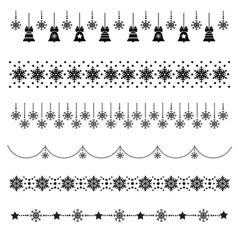 Grupo de ícones do Natal, decorações da Natal-árvore, testes padrões para cartões, ilustração lisa do vetor ilustração do vetor