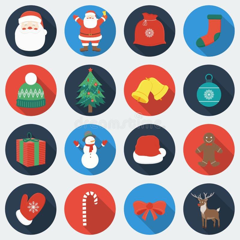 Grupo de ícones do Natal Estilo liso do projeto com sombra longa Vetor ilustração do vetor