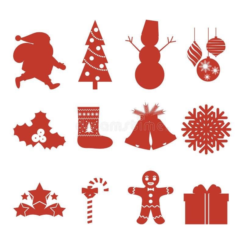 Grupo de ícones do Natal silhuetas Ilustração do vetor ilustração stock