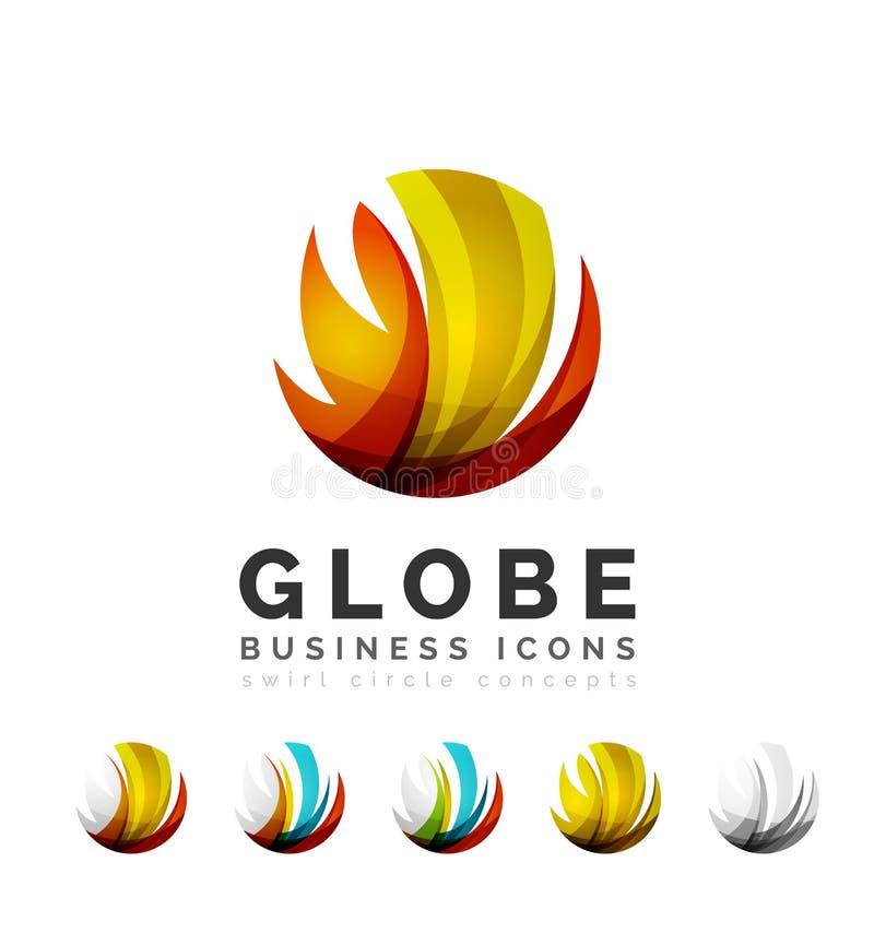 Grupo de ícones do negócio do logotipo da esfera ou do círculo do globo ilustração royalty free