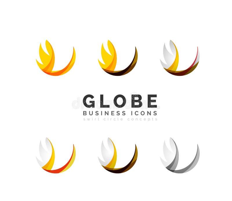 Grupo de ícones do negócio do logotipo da esfera ou do círculo do globo ilustração stock