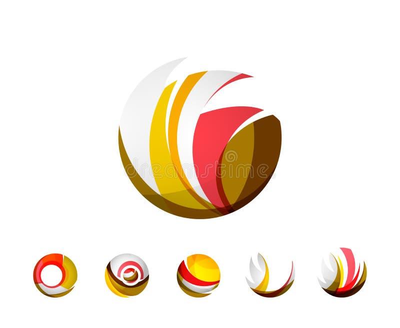 Grupo de ícones do negócio do logotipo da esfera ou do círculo do globo ilustração do vetor