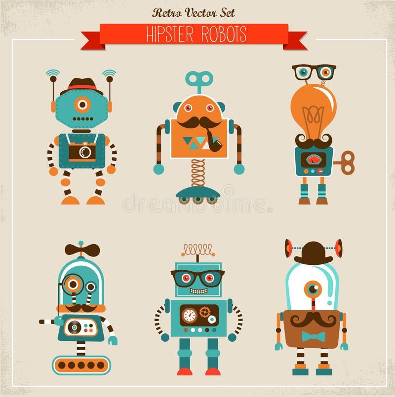 Grupo de ícones do robô do moderno do vintage ilustração royalty free