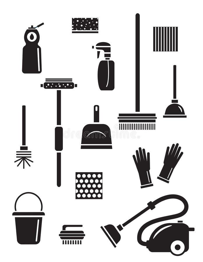 Grupo de ícones do serviço da limpeza Silhuetas pretas isoladas ilustração do vetor