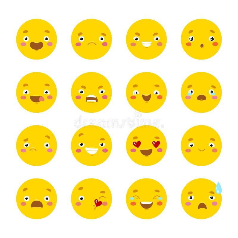 Grupo de ícones do smiley com cara diferente ilustração do vetor