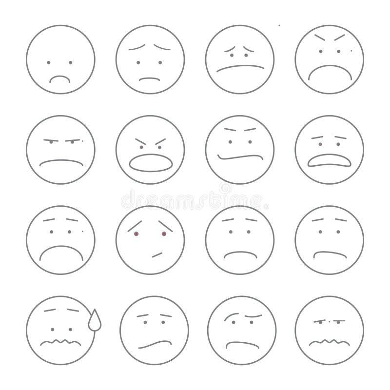Grupo de ícones do smiley: esboço diferente das emoções ilustração royalty free