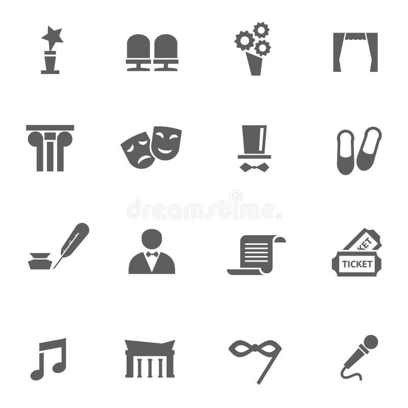Grupo de ícones do teatro imagens de stock