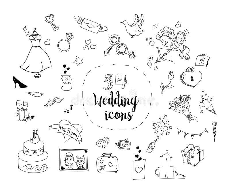 Grupo de ícones do tema do casamento dos desenhos animados imagens de stock