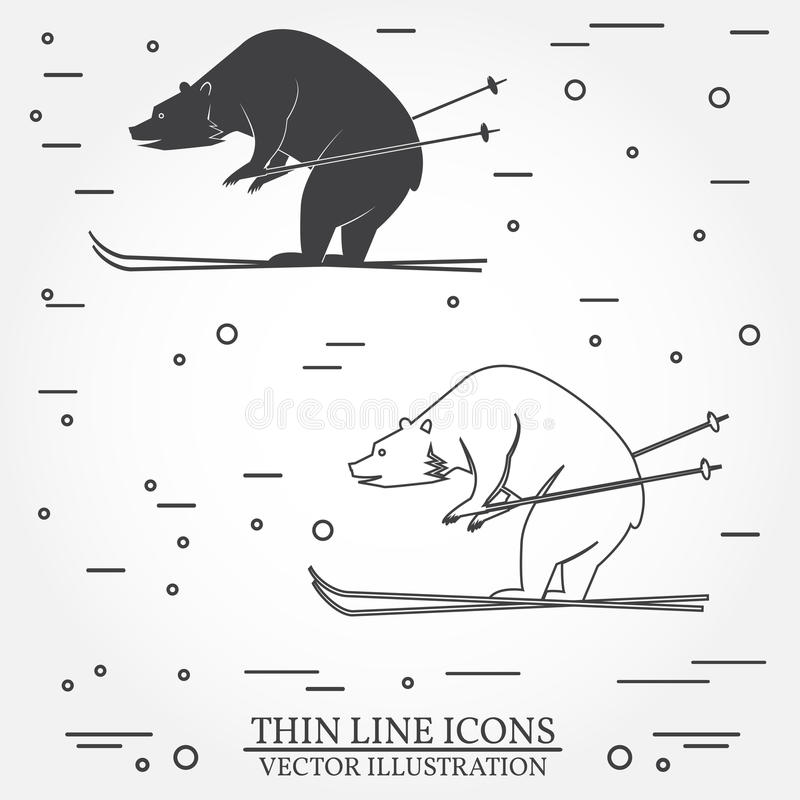 Grupo de ícones do urso do esqui ilustração stock