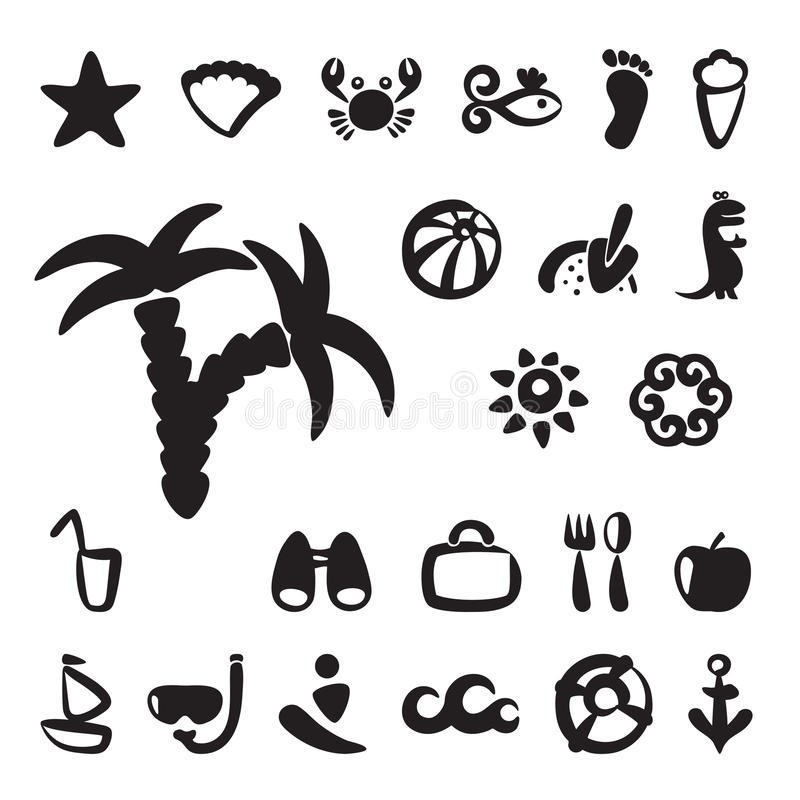 Grupo de ícones do verão ilustração stock