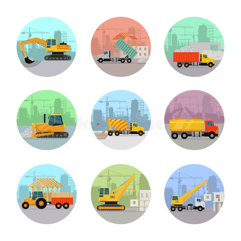 Grupo de ícones do vetor com máquinas da construção ilustração royalty free
