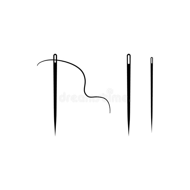 Grupo de ícones do vetor das agulhas de costura Agulha e linha de costura ilustração royalty free