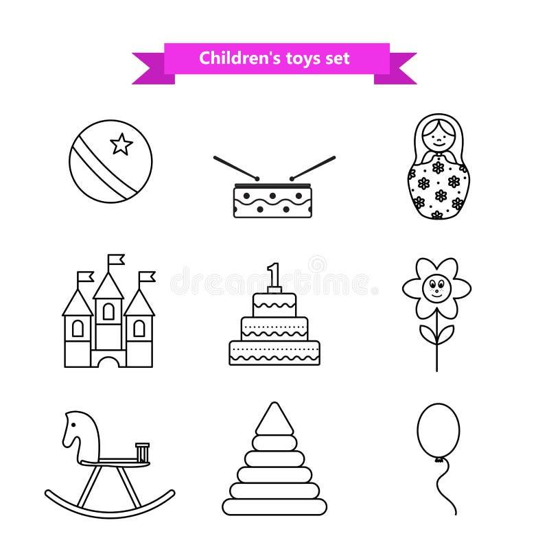 Grupo de ícones do vetor dos brinquedos Coleção dos brinquedos para crianças Ilustração do vetor em uma linha estilo ilustração stock