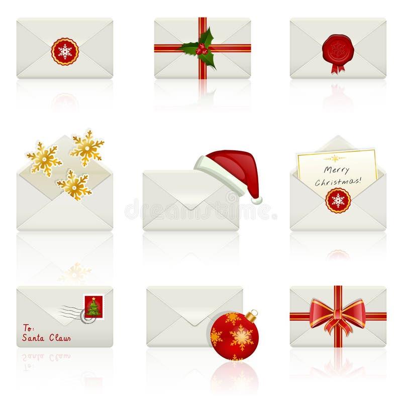 Grupo de ícones do vetor: Envelopes do Natal. ilustração stock