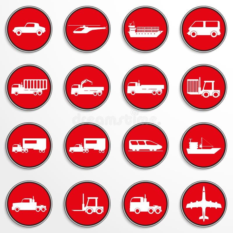 Grupo de ícones do vetor no tema do transporte ilustração stock