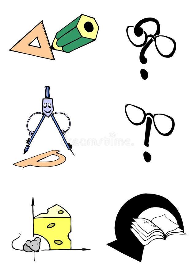 Grupo de ícones do vetor para o livro de texto da geometria ou da matemática fotos de stock royalty free