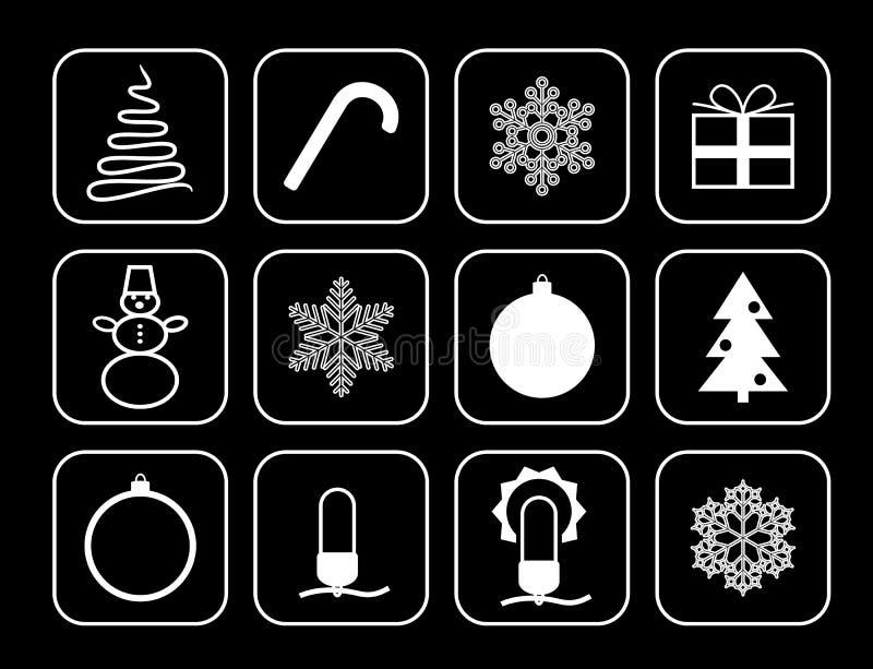 Grupo de ícones do vetor pelo Natal e o ano novo ilustração stock