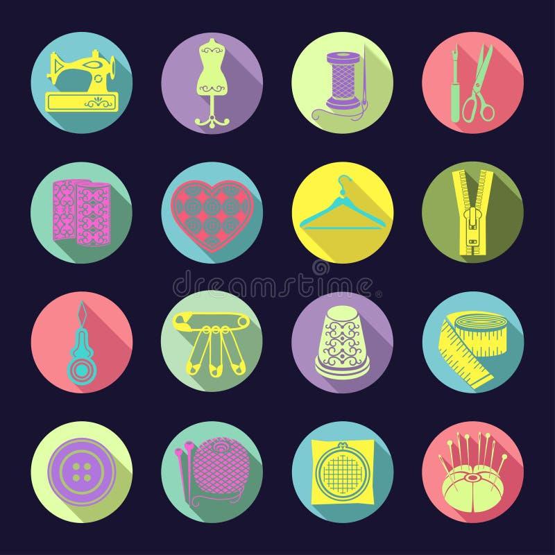 Grupo de ícones do vetor que costuram ferramentas As fontes brilhantes coloridas da costura em um círculo multi-coloriram o quadr ilustração stock