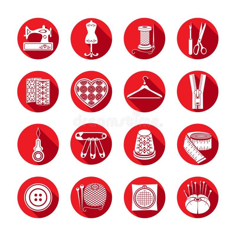 Grupo de ícones do vetor que costuram ferramentas Fontes brancas da costura em um quadro vermelho redondo ilustração stock