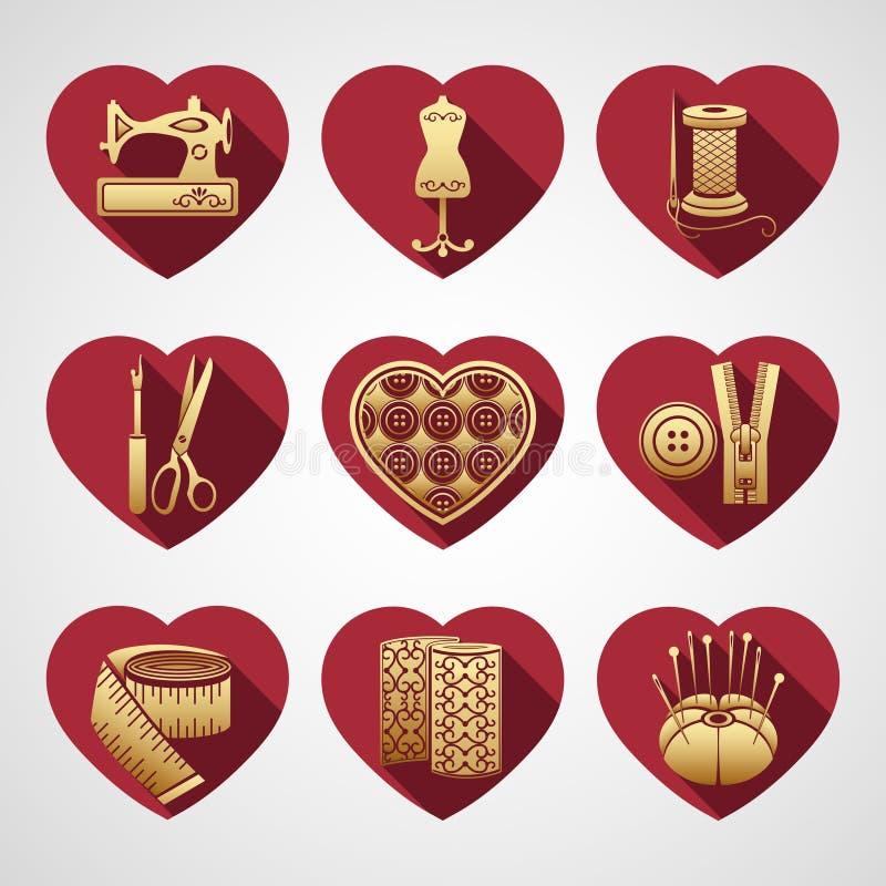 Grupo de ícones do vetor que costuram ferramentas Fontes da costura do ouro em um quadro na forma de um coração vermelho ilustração royalty free