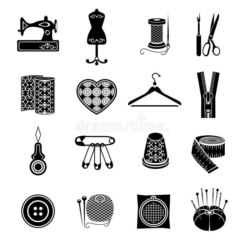 Grupo de ícones do vetor que costuram ferramentas Fontes pretas da costura no fundo branco ilustração royalty free