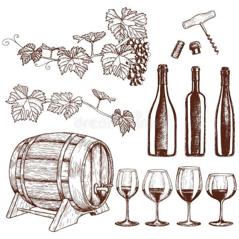 Grupo de ícones do vinho do esboço ilustração do vetor