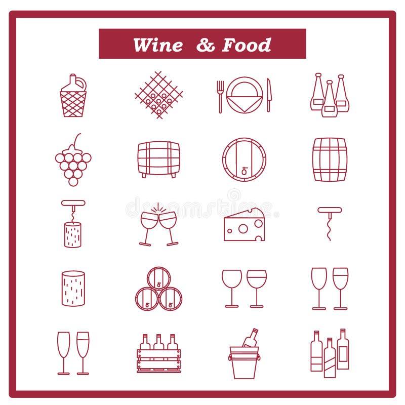 Grupo de ícones do vinho Ilustração do vetor com garrafas ilustração royalty free