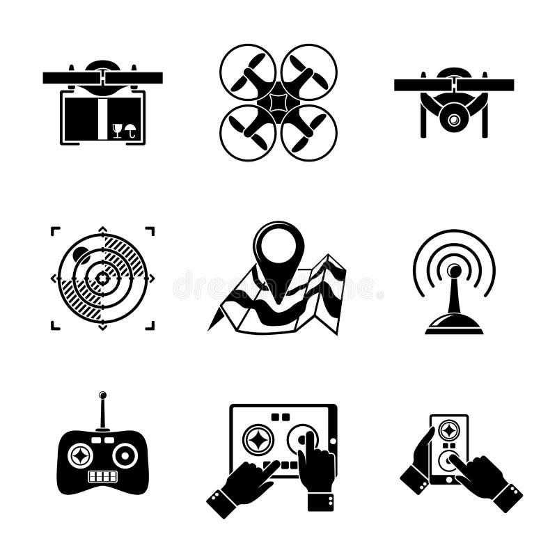 Grupo de ícones do zangão - com caixa, vista superior ilustração stock