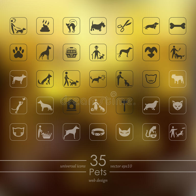 Grupo de ícones dos animais de estimação ilustração royalty free