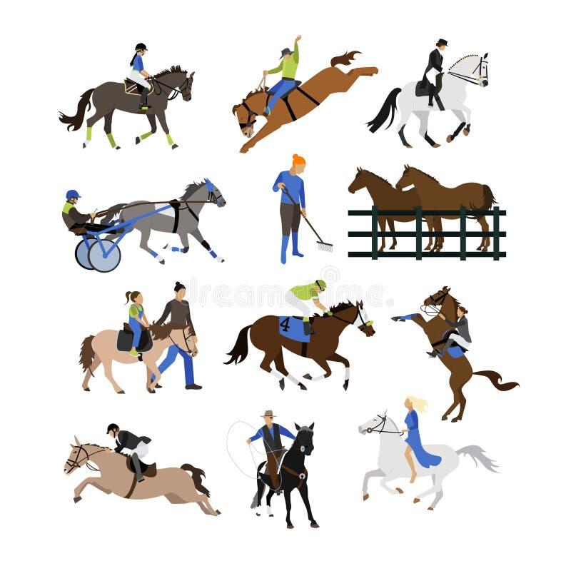 Grupo de ícones dos cavaleiros do cavalo, projeto liso do vetor ilustração royalty free