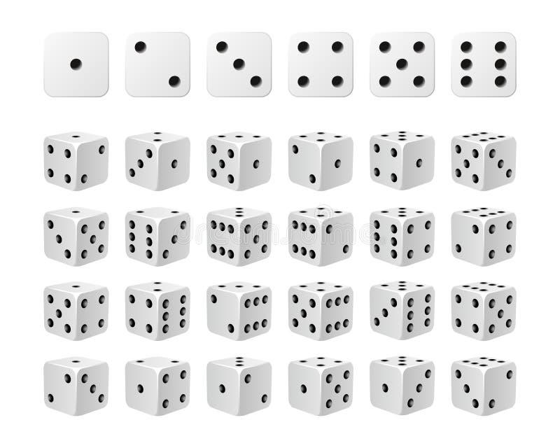 Grupo de 24 ícones dos dados em todas as voltas possíveis ilustração do vetor