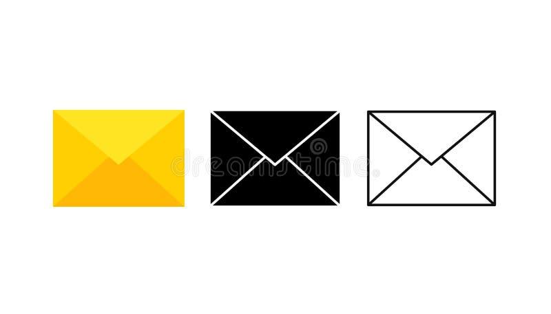 Grupo de ícones dos envelopes com uma imagem de uma letra fechado Original de papel fechado em um envelope Entrega da correspondê ilustração stock