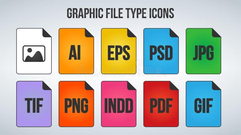 Grupo de ícones dos formatos de arquivo do gráfico ou da imagem Ilustração do vetor isolada no fundo branco ilustração do vetor