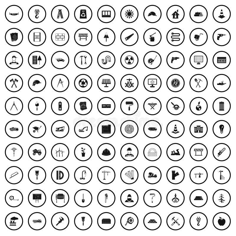 grupo de 100 ícones dos materiais de construção, estilo simples ilustração royalty free