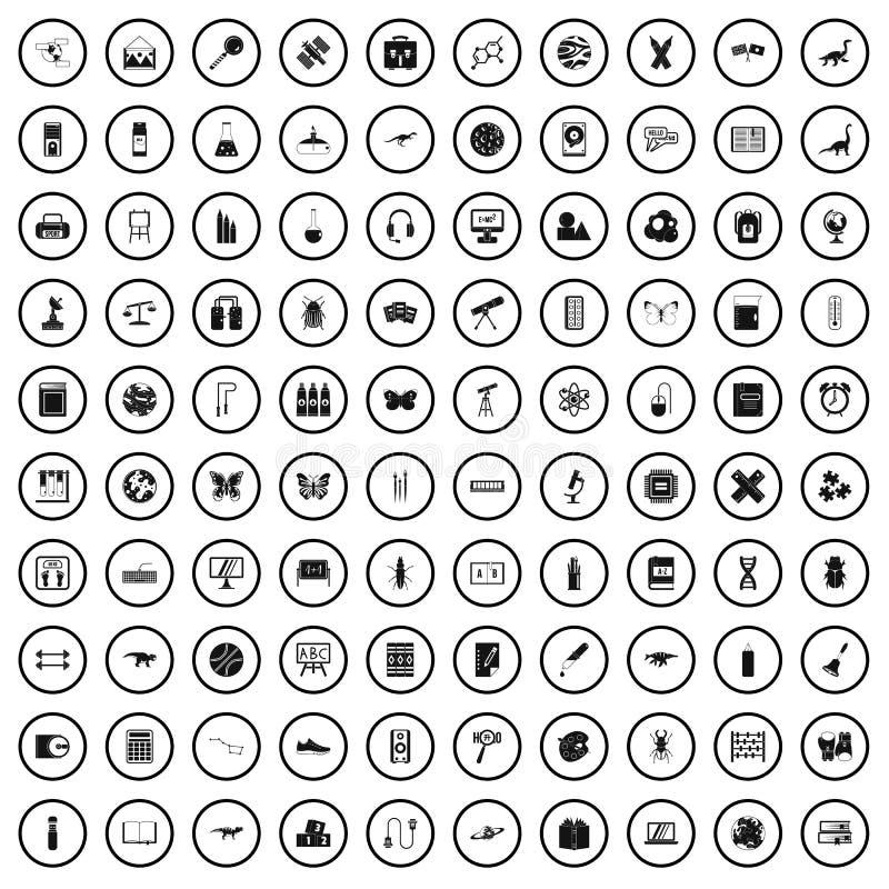 grupo de 100 ícones dos materiais de ensino, estilo simples ilustração royalty free