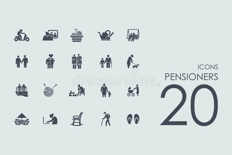 Grupo de ícones dos pensionista ilustração do vetor