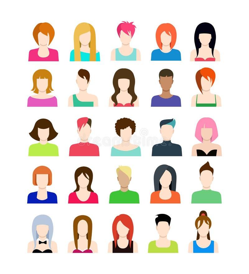 Grupo de ícones dos povos no estilo liso com caras ilustração royalty free