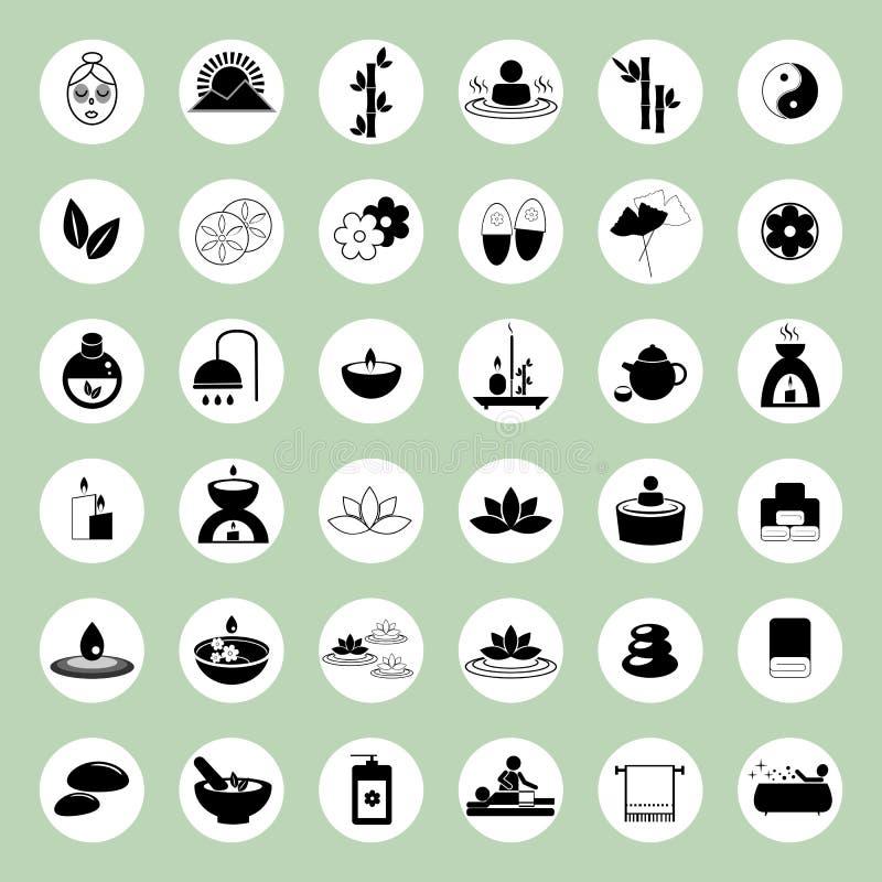 Grupo de ícones dos termas e da massagem ilustração do vetor