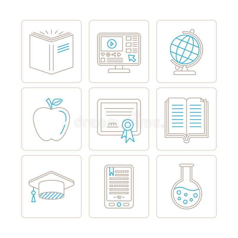 Grupo de ícones e de conceitos da educação do vetor na mono linha estilo fina ilustração do vetor