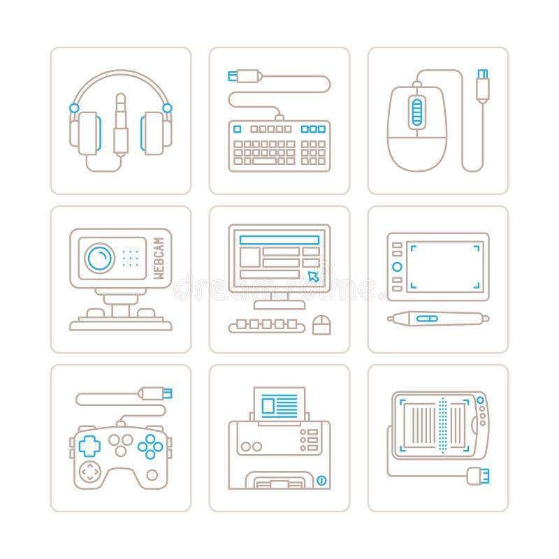 Grupo de ícones e de conceitos da eletrônica do vetor na mono linha estilo fina ilustração stock