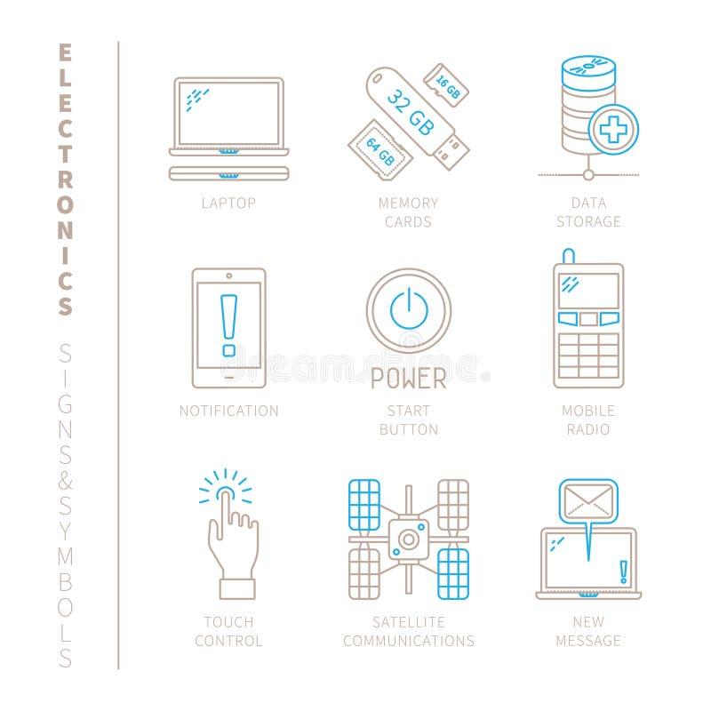 Grupo de ícones e de conceitos da eletrônica do vetor na mono linha estilo fina ilustração royalty free