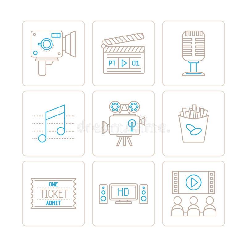 Grupo de ícones e de conceitos do cinema do vetor na mono linha estilo fina ilustração do vetor