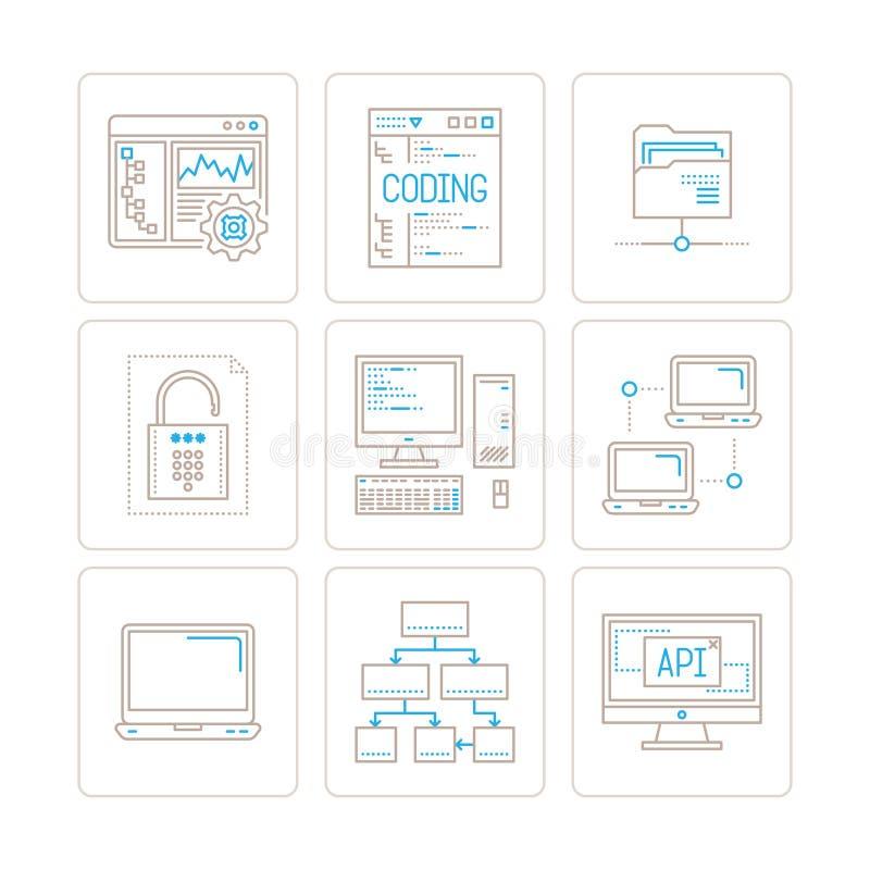 Grupo de ícones e de conceitos do computador de vetor na mono linha estilo fina ilustração do vetor