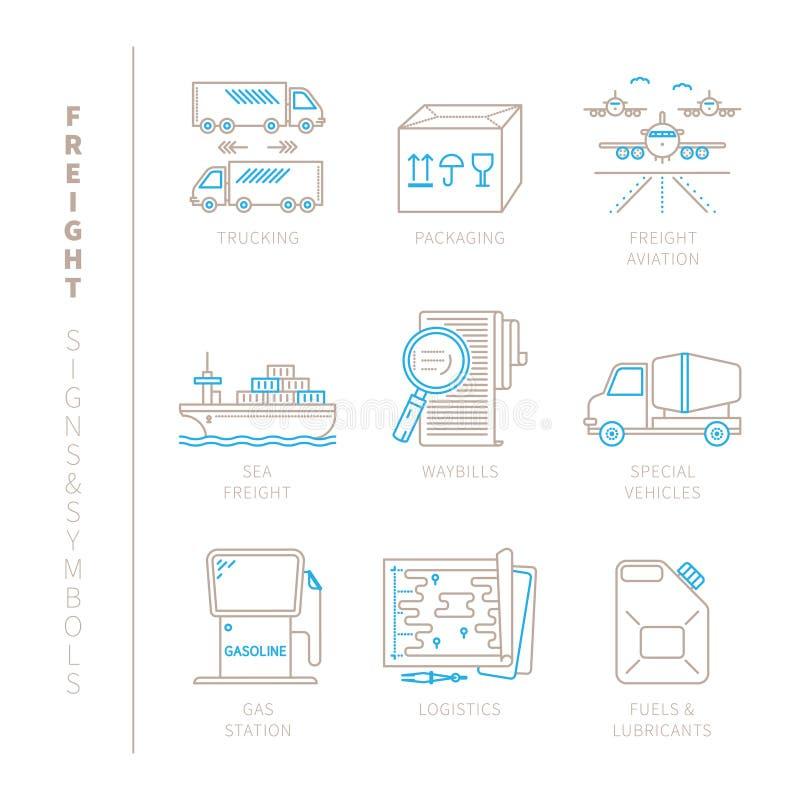 Grupo de ícones e de conceitos do frete do vetor na mono linha estilo fina ilustração stock