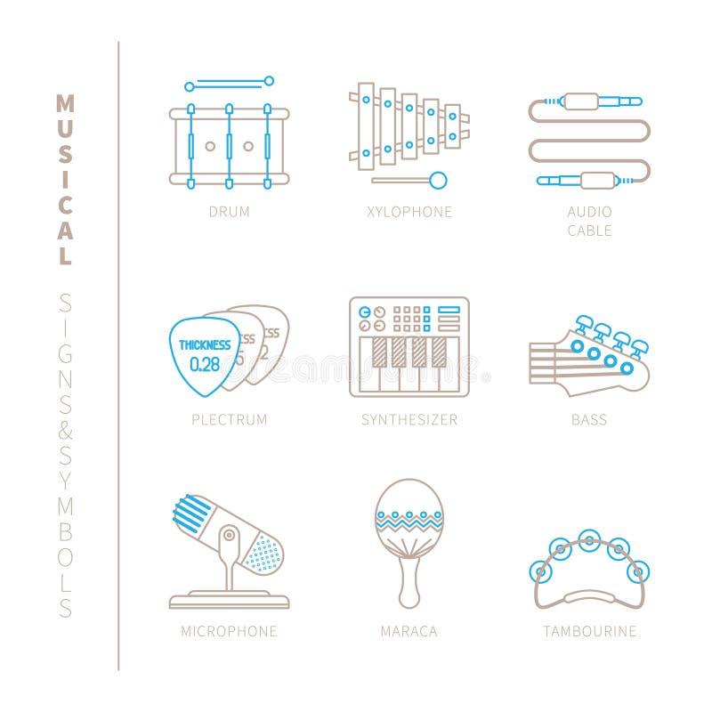 Grupo de ícones e de conceitos do instrumento musical do vetor na mono linha estilo fina ilustração do vetor