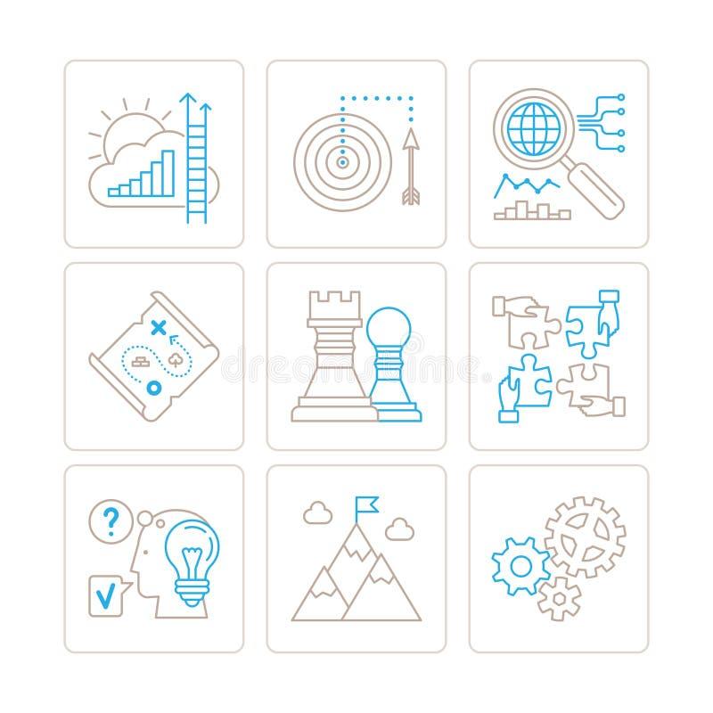 Grupo de ícones e de conceitos do negócio do vetor na mono linha estilo fina ilustração royalty free