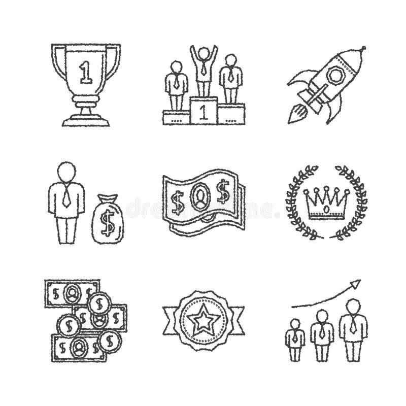 Grupo de ícones e de conceitos do negócio do vetor no estilo do esboço ilustração royalty free