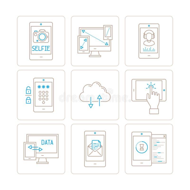 Grupo de ícones e de conceitos móveis da tecnologia do vetor na mono linha estilo fina ilustração do vetor